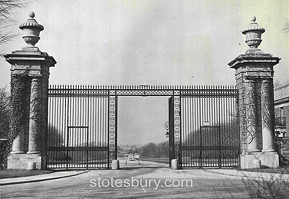 The entrance gates to Whitemarsh Hall from Willow Grove Avenue