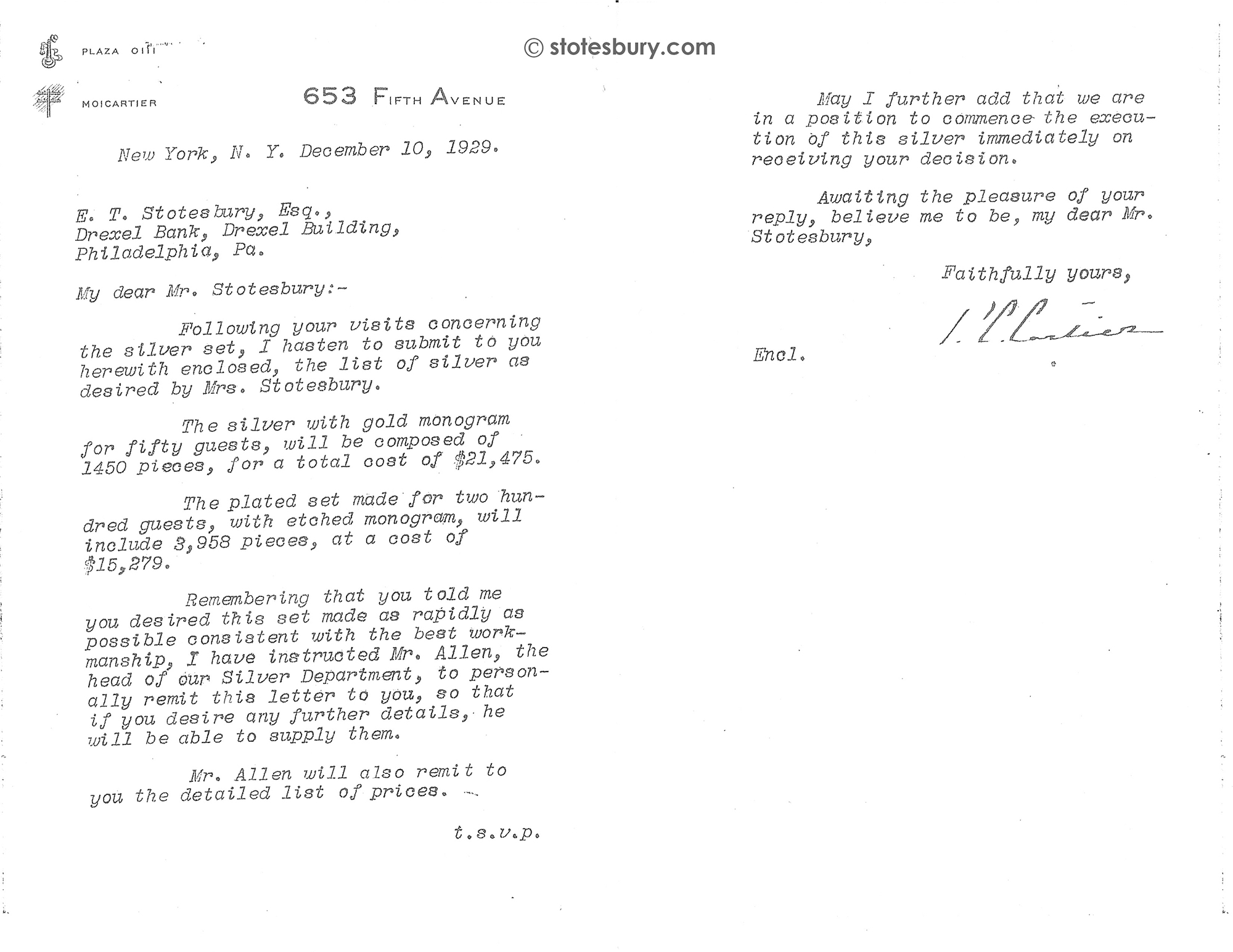 December 1929 Letter from Pierre Cartier